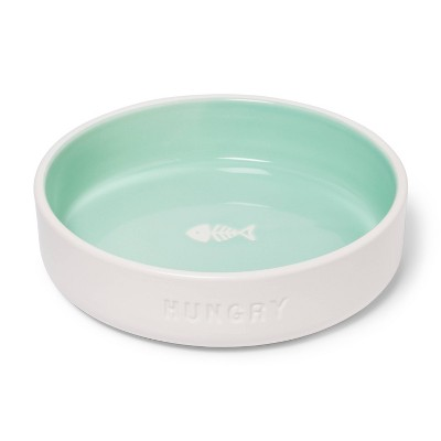 2Cup Cat & Dog Dish Bowl With Debossed & Resist Pattern - Hungry - Green & White - Boots & Barkley™