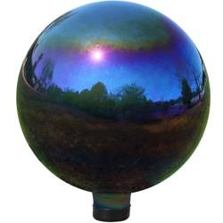 "10""H Glass Gazing Ball - Mirrored Rainbow - Sunnydaze Decor"