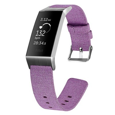 Insten Canvas Fabric Band for Fitbit Charge 4 & Charge 3 & Charge SE, Replacement Strap, Lavender Purple
