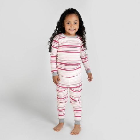Burt's Bees Baby® Toddler Girls' Stripped Organic Cotton Pajama Set - Pink/White - image 1 of 2