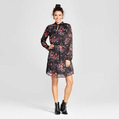 ae659e3e72ce11 Women s Lurex Tie-Neck Dress - Xhilaration™ (Juniors ) Black M   Target
