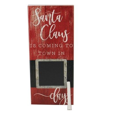 "Home Decor 11.75"" Santa Coming Christmas Chalk Claus  -  Freestanding Signs"