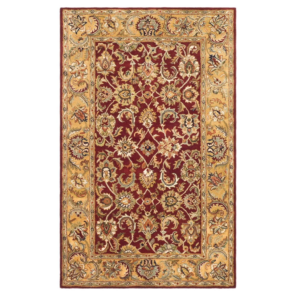 Red/Gold Floral Tufted Area Rug 5'X8' - Safavieh