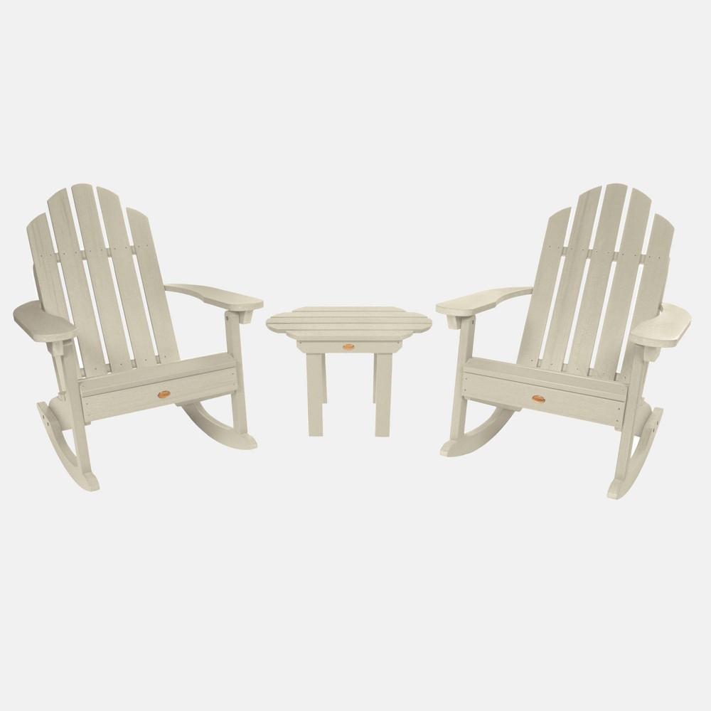 Image of 3pc Classic Westport Adirondack Rocking Chair Patio Set Whitewash - highwood