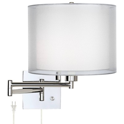 Possini Euro Design Modern Swing Arm Wall Lamp Chrome Plug-In Light Fixture Double Sheer Silver White Drum Shade Bedroom Reading