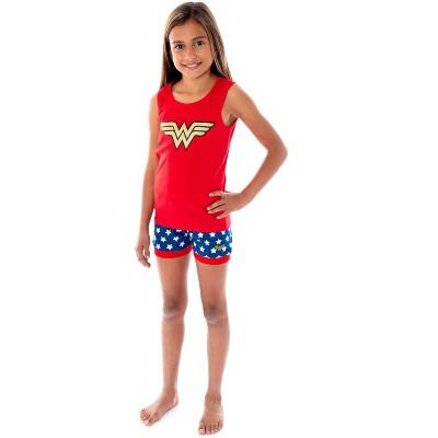 DC Comics Girls Wonder Woman Logo Tank Top And Shorts Pajama Set