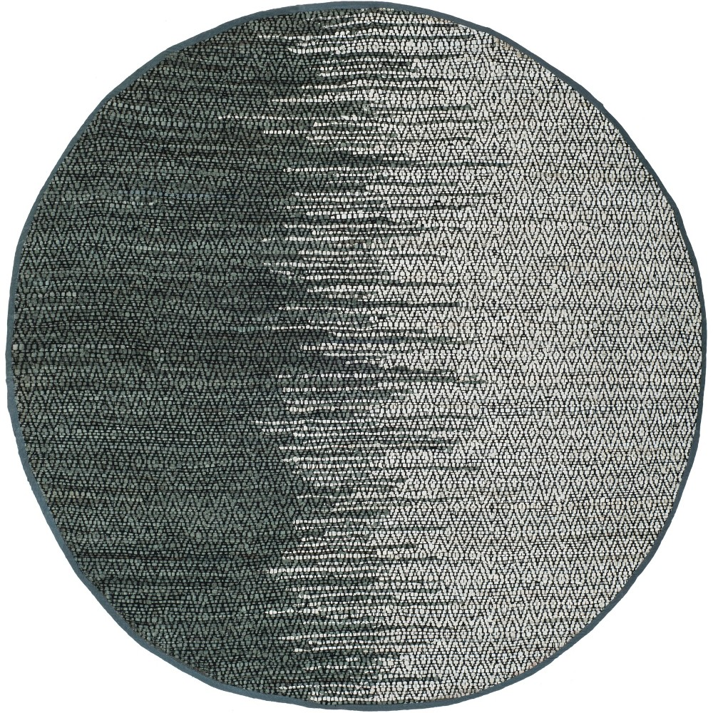 6 Geometric Woven Round Area Rug Light Gray/Charcoal - Safavieh Promos