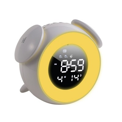 """Insten 5"""" Digital LED Clock with 7 Color Switch Light, Touch Control, Snooze, Dual Alarms White"""