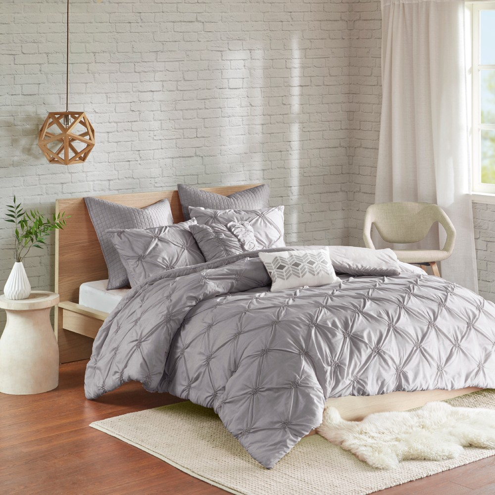 Gray Stella Embroidered Duvet Cover Set (Full/Queen) 7pc
