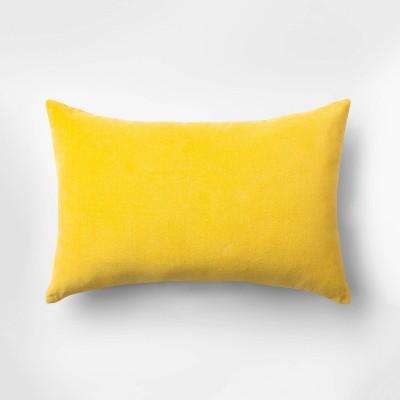 Velvet Lumbar Throw Pillow Yellow - Room Essentials™