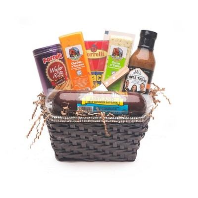 Northlight 9pc Brown Gourmet Summer Sausage and Cheese Gift Basket - Small
