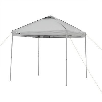 Core 8 x 8 Foot Outdoor Instant Pop Up Tent Shelter Canopy Shelter with 3 Adjustable Heights, Metal Stake Down Kit, Mesh Pocket, and Carry Bag, Gray