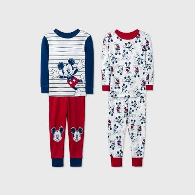 Toddler Boys' 4pc Mickey Mouse & Friends Pajama Set - Navy 12M