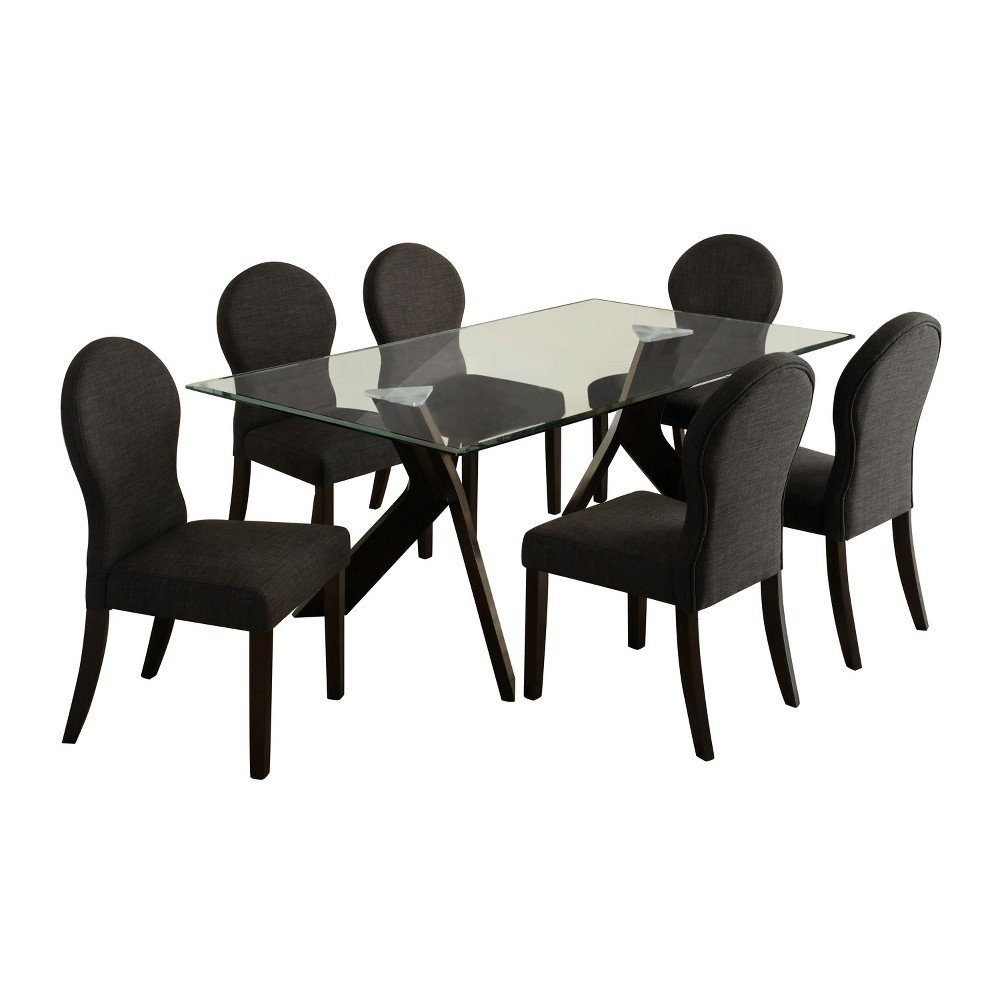 ioHomes 7pc Clear Glass Table Top Dining Table Set Wood/Espresso