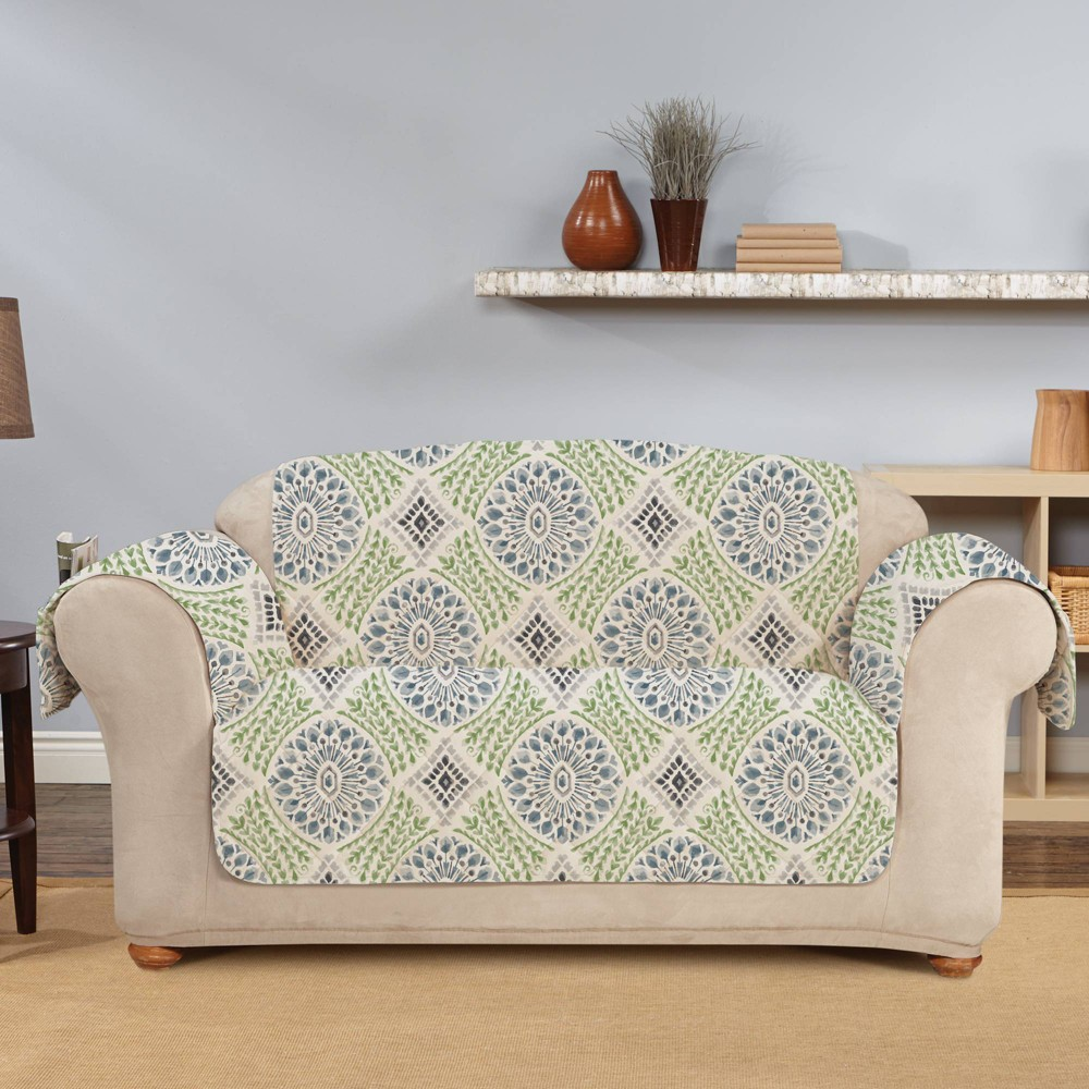 Medallion Printed Loveseat Furniture Protector Cover Blue Sure Fit