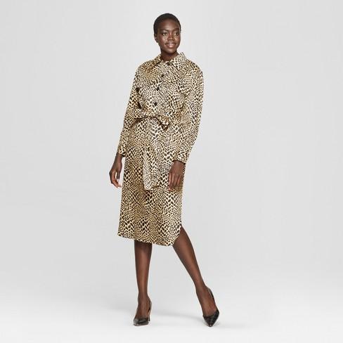 68af895663 Women s Leopard Print Self Tie Midi Shirtdress - Who What Wear™ Yellow