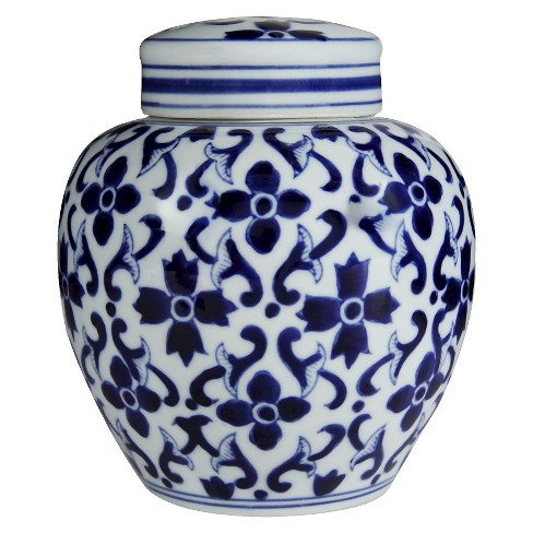 Blue And White Jar Blue 6 3 X7 5