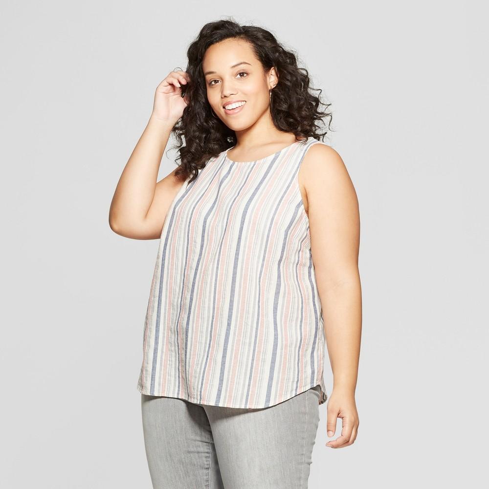 Women's Plus Size Striped Sleeveless Crew Neck Button Back Tank Top - Universal Thread White X