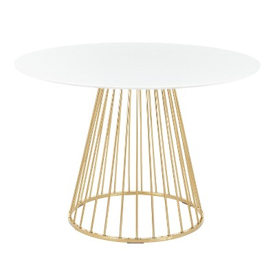 Canary Contemporary/Glam Dining Table Gold/White - LumiSource