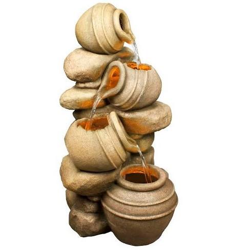 "Northlight 32.5"" Prelit LED Rustic Rocks and Broken Urn Pots Outdoor Patio Garden Water Fountain - Brown - image 1 of 1"