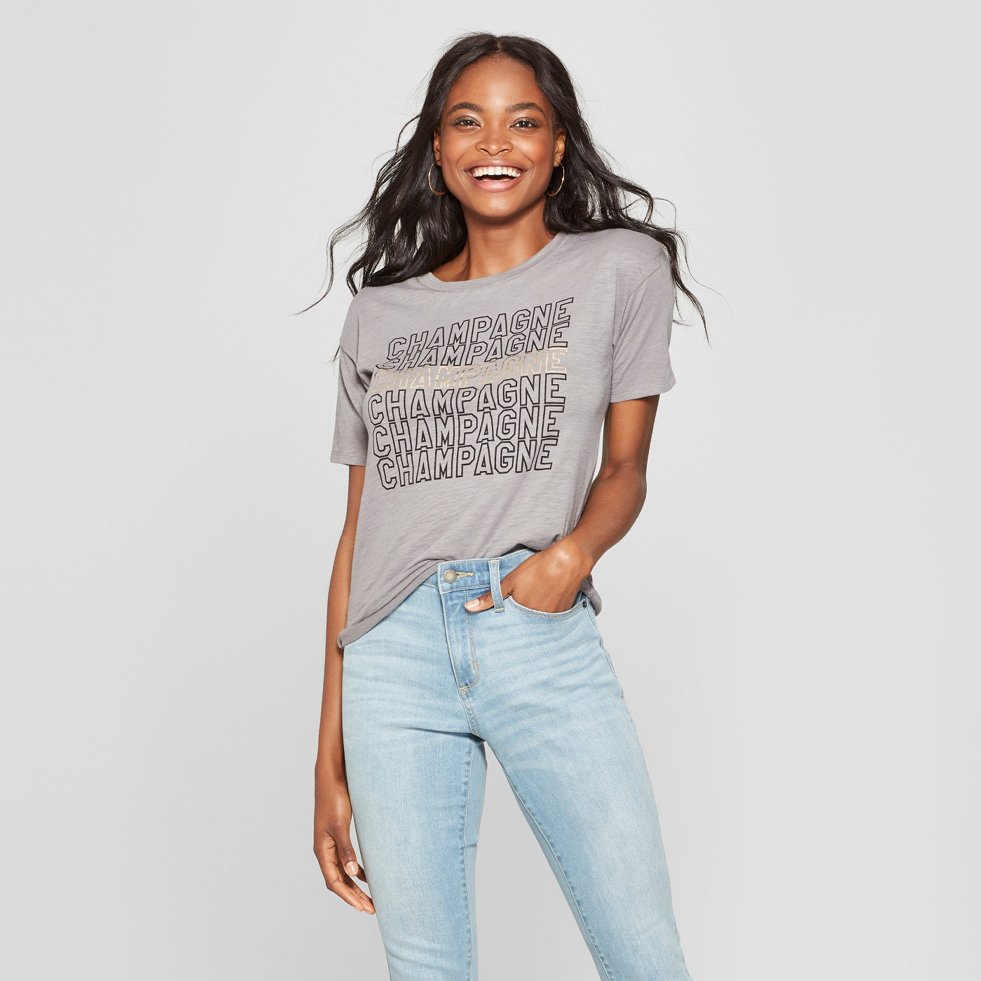 83865dcf86 Women s Short Sleeve Champagne Graphic T-Shirt - Fifth Sun Charcoal XL -  image 1