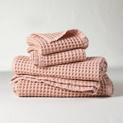 4pc Decorative Waffle Bath Towel Set Pink - Casaluna™