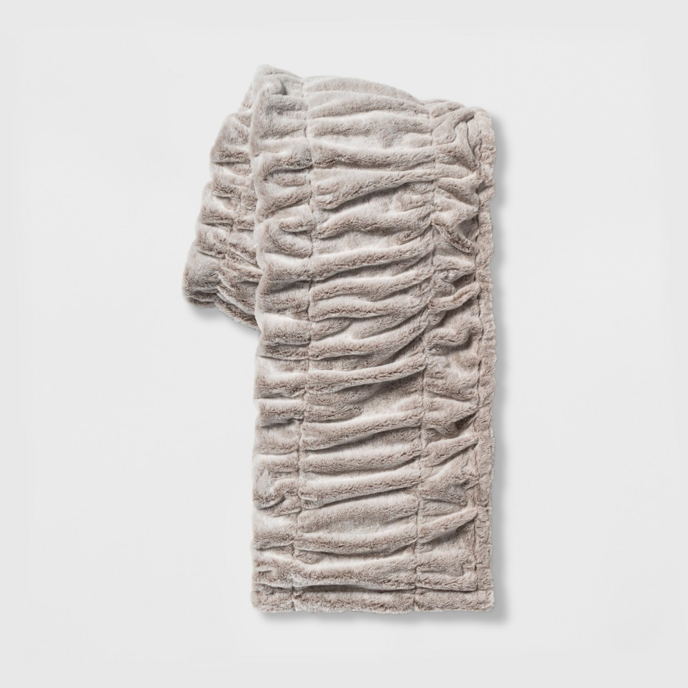 Ruched Faux Fur Throw Blanket Neutral - Threshold
