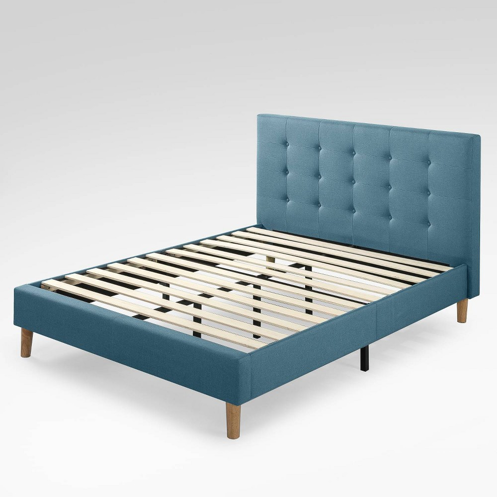 Full Ibidun Upholstered Platform Bed Frame Blue - Zinus