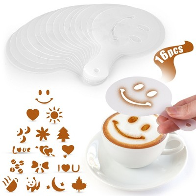 Stencils for Latte Art (16 Pack) with Various Designs to Style your Morning Coffee