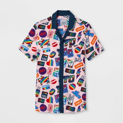 Pride Gender Inclusive Adult Patches Print Button-Down Camp Shirt - Pink