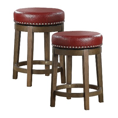 Lexicon Whitby 25 Inch Counter Height Wooden Bar Stool with Solid Wood Legs and Faux Leather Round Swivel Seat, Red (2 Pack)