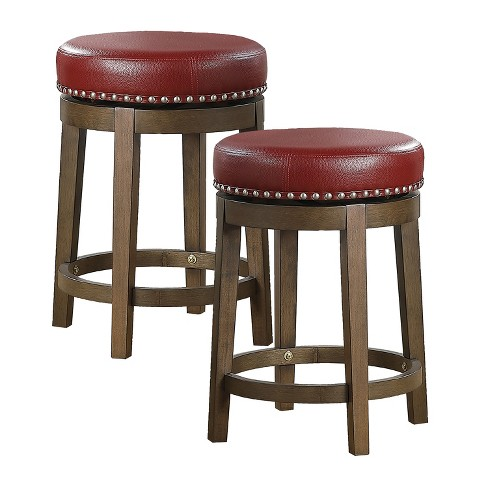 Lexicon Whitby 25 Inch Counter Height Wooden Bar Stool With Solid Wood Legs And Faux Leather Round Swivel Seat Red 2 Pack Target