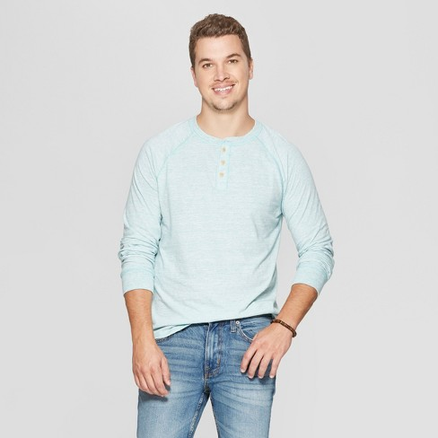 Men's Regular Fit Long Sleeve Jersey Henley Shirt - Goodfellow & Co™ Bermuda Sea 2XL - image 1 of 3