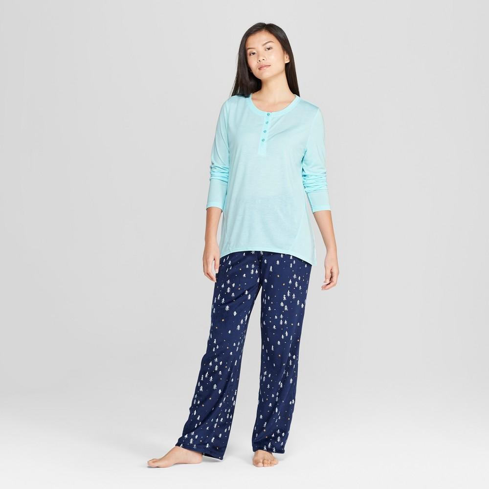 Women's Cozy Fleece Tree Print Pajama Set Turquoise L, Blue