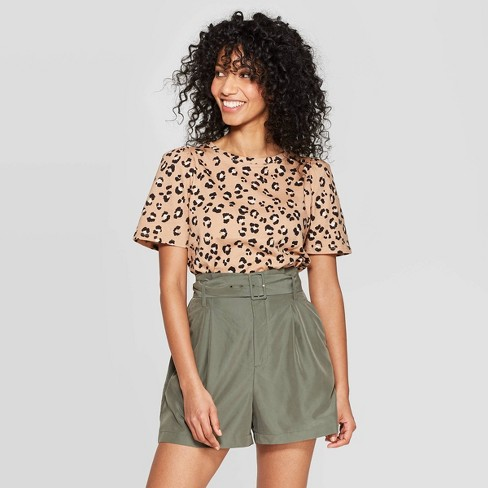 44da7ce07299 Women's Leopard Print Short Sleeve Crewneck T-Shirt - A New Day™ Brown :  Target