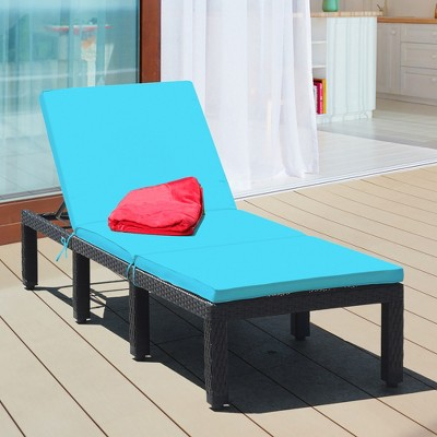 Costway Patio Rattan Lounge Chair Height Adjustable Turquoise