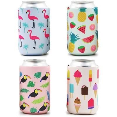 12-Pack Summer Parties Can Cooler Sleeves, 12 oz Insulated Beer Koozies Neoprene Holder, 4 Assorted Designs: Flamingo, Fruit, Toucan & Ice-cream