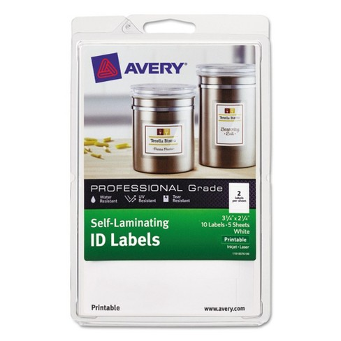 Avery® Professional Grade Self-Laminating ID Labels, 3 1/4 x 2 1/4, White, 10/Pack - image 1 of 4