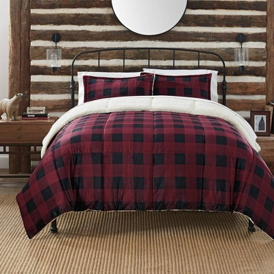 Queen 3pc Cozy Plush Buffalo Comforter Set Plaid - Serta