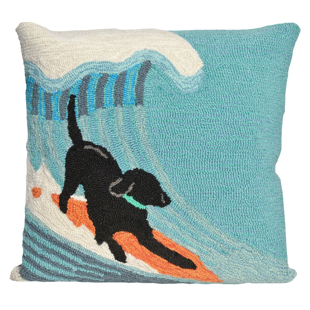 """Image of """"Pool Side Srfng Dg In/Ot Throw Pillow (18""""""""x18"""""""") - Liora Manne, Blue"""""""