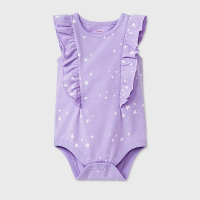 Baby Girls' Star Short Sleeve Ruffle Bodysuit - Cat & Jack™ Lavender 3-6M