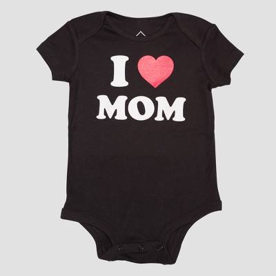 Baby I Heart Mom Short Sleeve Bodysuit - Black 6M