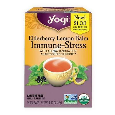 Yogi Tea Elderberry Lemon Balm Immune + Stress - 16ct