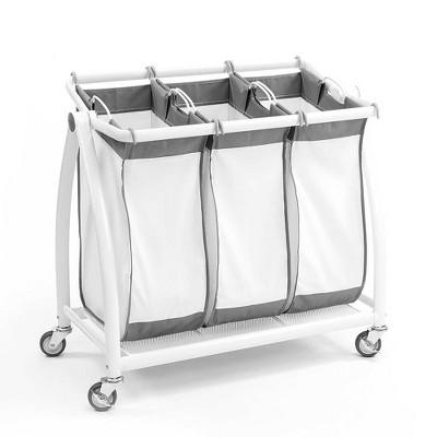 Seville Classics Premium 3 Bag Heavy Duty Tilt Laundry Sorter White by Seville Classics