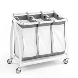 Seville Classics Premium 3-Bag Heavy-Duty Tilt Laundry Sorter White