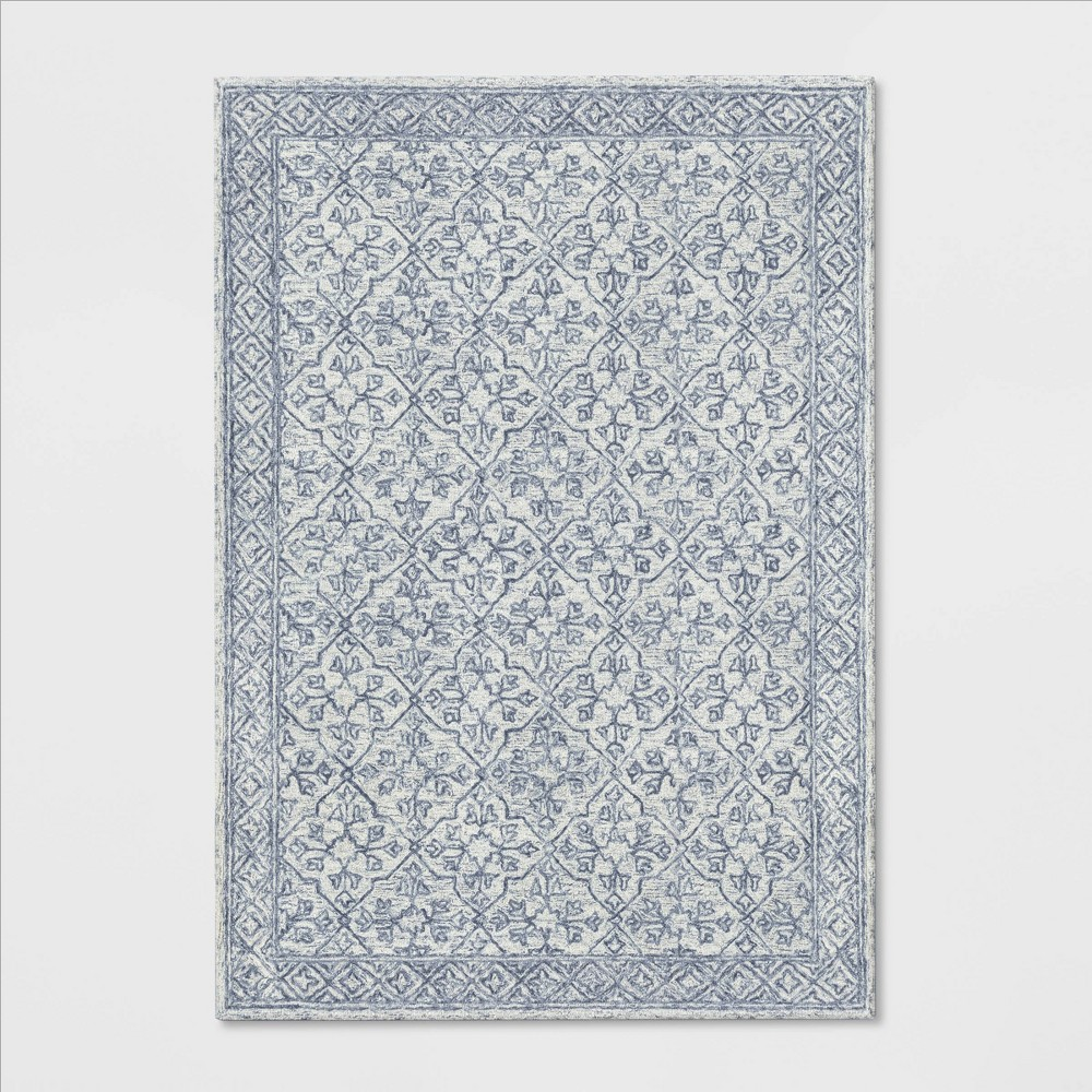 7'X10' Argyle Tufted Area Rug Gray - Threshold
