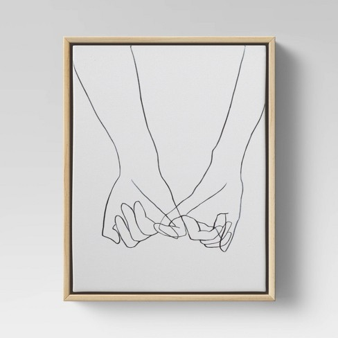 Holding Hands Framed Wall Canvas Black/White - Opalhouse™ - image 1 of 3