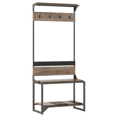 Refinery Hall Tree with Shoe Storage Bench Rustic Gray/Charred Wood - Bush Furniture