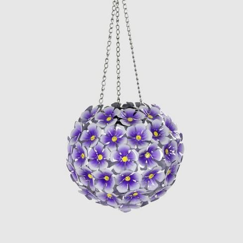 "26"" Resin Solar Hydrangea Hanging Flower Ball Purple - Exhart - image 1 of 2"