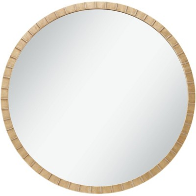"""Uttermost Gracia Gold Leaf Post 34"""" Round Metal Framed Wall Mirror"""